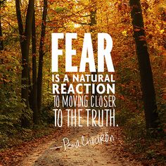 """For When You Don't Know How Things Are Going to Turn Out """"Fear is a natural reaction to moving closer to the truth.""""""""Fear is a natural reaction to moving closer to the truth. Quotable Quotes, Wisdom Quotes, Quotes To Live By, Me Quotes, Change Quotes, Quotes On Fear, Fearless Quotes, Missing Quotes, Strong Quotes"""