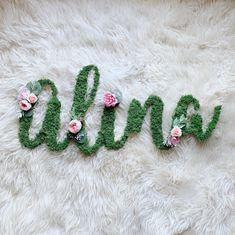 Hi sweet Brinley! 👋💚🌱 // Custom Moss Floral Name Brinley in Fancy Font with A, B, L Faux Flowers, Small Flowers, Summer Flowers, Nursery Name, Nursery Wall Decor, Alphabet Words, Newborn Nursery, Fancy Fonts, Newborn Photo Props