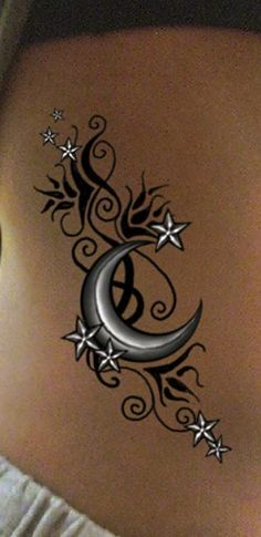 3D Shinning Stars Tattoo <3 (LOVE this!!!) I wouldn't get it on my side though, I'd have it arranged on my upper arm.  There would only be 3 stars with it, varying in size, representing my kids