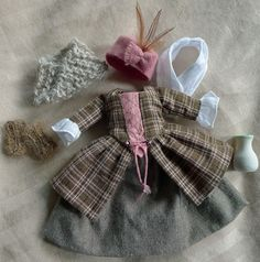 A Wee Outlander Outfit in Rose Plaid w/Hat for Hitty by Islecroft