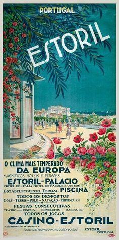 Portuguese Riviera Estoril - Vintage travel beach poster www.it/en Tourism Poster, Poster Ads, Illustrations Vintage, Illustrations And Posters, Travel Ads, Travel Photos, Vintage Travel Posters, Vintage Postcards, Oahu