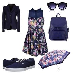 """""""Blue floral"""" by sierra-light ❤ liked on Polyvore featuring Ally Fashion, Cavalleria Toscana, Vans, Kipling, Forever New, women's clothing, women, female, woman and misses"""