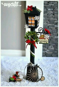 """Christmas Lantern Street Lamp by Thienly Azim - I'm sure that almost all of you have read the book or seen the film, """"A Christmas Carol"""". Miniature Christmas, Magical Christmas, Noel Christmas, Christmas Paper, Rustic Christmas, All Things Christmas, Christmas Ornaments, Christmas Lantern Diy, Christmas Lamp Post"""