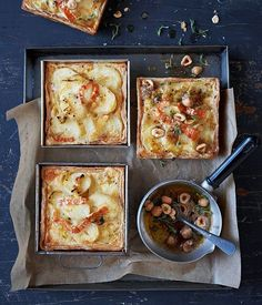 Potato, leek and thyme tartlets recipe - Gourmet Traveller Lunch Recipes, Gourmet Recipes, Cooking Recipes, Quiches, Savory Tart, Savoury Pies, Savoury Slice, Savoury Recipes, Tart Recipes