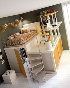 How cool is this to fit everything in to a small room. Best of all the kids can 'tidy their room' by throwing everything in the wardrobe. If they built a double bed version I may consider getting a studio apartment!