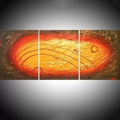 enigmatic gold huge triptych abstract original gold impasto abstract extra large art canvas - 48 x 20 inches Mixed-media painting by Stuart Wright