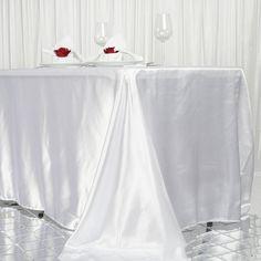 x Satin Rectangular Tablecloth - White Banquet Tables, Reception Table, Wedding Reception, Satin Color, Satin Fabric, Chair Covers, Table Covers, Table Overlays
