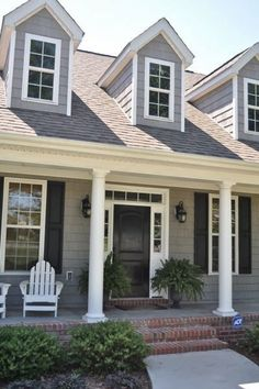Outside House Color: Dark Gray exterior paint color with Black door and White trim! Description from pinterest.com. I searched for this on bing.com/images