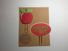 Apple of My Eye/ Paper Clips/ Planner Clips/Red/ Green/Glam Planner/ BookMarks/ Gift Item/ Happy Planner/ Hand Crafted