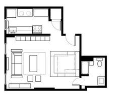 """Floor plan for the studio with the custom office/storage """"pod"""" under the bed platform."""