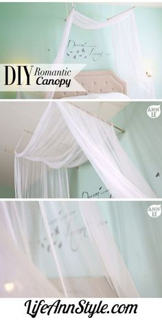 Hang it loosely over the ceiling with dowels and ribbons. | 23 Magical Ways To Bring The Night Sky Into Your Bedroom
