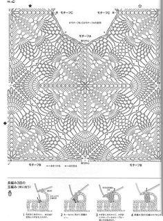 Ажурный удлиненный жилет. Схема вязания крючком и выкройка от японских мастериц.