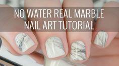 Real White Marble Nail Art Tutorial   NO WATER Involved!   The Nailasaurus
