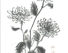 """Inicio de arte original """"Tres crisantemos"""" - japonesa sumi-e - decoración asiática de la pared arte - decoración - blanco y negro - arte minimalista - regalo para ella"""