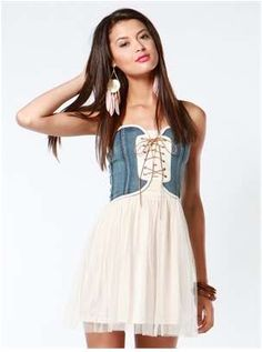 Denim Corset Tulle Dress - defiant ballerina frocks