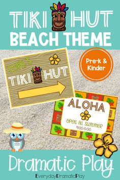 Are your young learners ready for some beach themed pretend play? The beach dramatic play Tiki Hut is open for creating and serving tasty drinks. This summer theme dramatic play set will have your little learners counting, sorting, ordering and mixing up some fun play time with their friends in the dramatic play center. Preschool, pre-k, and kindergarten children will love using their imaginations to visit the Tiki Hut. It's a perfect addition to a beach theme, ocean theme or summer theme.