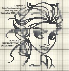 Grille gratuite point de croix : La reine des neiges - Elsa monochrome 1
