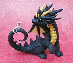 Black dragon with tiny mouse friend by DragonsAndBeasties.deviantart.com on @deviantART