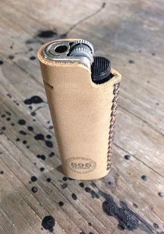 Beige leather lighter case Lighter cover Handmade lighter