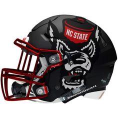 University of North Carolina State Wolfpack Concept Helmet Football Helmet Design, College Football Helmets, Sports Helmet, Football Uniforms, Football Stadiums, Nc State Football, Football Is Life, Nfl Football, Football Stuff