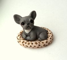Blue French Bulldog in Snazzy bed polymer clay Frenchie by theWRC