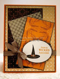 Wicked Cool--all Stampin' Up! supplies: Pumpkin Pie, Basic Gray, and Whisper White cardstocks with last season's Halloween designer paper, Basic Gray taffeta ribbon, and Wicked Cool stamp set. Added a rhinestone to hat band.