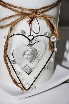 beaded wire heart and photo heart