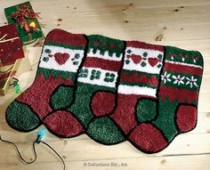 Christmas Stocking Holiday Accent Rug $8.97