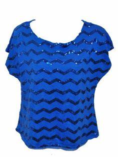 NEW Love Fire Juniors Cap Sleeve Sequin Top Blue Shirt Large