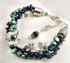 Multistrand Gemstone and Pearl Bracelet by Sweet Freedom Designs,