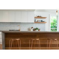 For the open kitchen - marble benchtops, timber island, matt off-white cabinetry, mosaic tiles Kitchen Island Bench, Kitchen Benches, Kitchen Dining, Kitchen Islands, Open Kitchen, Timber Benchtop, Concrete Kitchen Floor, Oak Cupboard, Beautiful Kitchen Designs