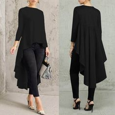 2019 New Arrival Autumn Asymmetrical Tunic Women's Tops Blouse Pleated Long Sleeve Shirt Female Swallowtail Blusas Oversized Casual Tops For Women, Trendy Clothes For Women, Blouses For Women, Women Tunic, Chic Outfits, Trendy Outfits, Blusas Oversized, Booties Outfit, Tan Booties