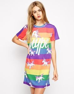 Rainbows and unicorns, what else do you need? :D <3  Hype T-Shirt Dress With Rainbow Unicorn Print