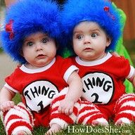 Dr. Suess thing 1 and thing 2 twin halloween costumes