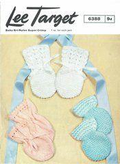 Lavenda 6388 baby mittens vintage knitting pattern