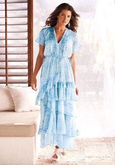 Plus Size Watercolor Print Dress by Denim 24/7 | Plus Size Dresses | Roamans