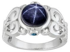 2.79ct Round Cabochon Blue Star Sapphire, .05ctw Round Blue Two Diamond Accent Sterling Silver Ring