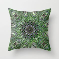 Green Leaves Mandala Throw Pillow $20