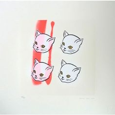 Four Cats - Pink By Amanda Marie: Category: Art Currency: GBP Price: GBP125.00 Retail Price: 125.00 Silk Screen Prints Animal Limited…