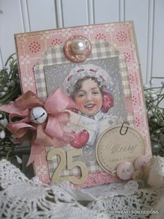 shabby christmas SNOW  girl MERRY CHRISTMAS handmade stitched layered card. $8.75, via Etsy.