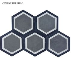 How cool would this be in a powder room! Cement Tile Shop - Encaustic Cement Tile Hex Frame Charcoal