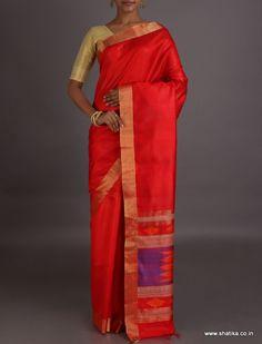 Shraddha Plain Red With Geometric Patterned Pallu #DupionSilkSaree