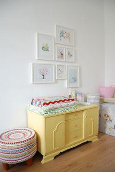 yellow dresser, white wall