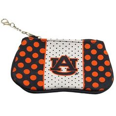 Auburn Tigers Ladies Polka Dot Fabric Pouch Wallet - Navy Blue