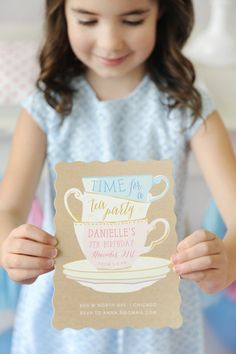 It's tea time! Little ladies will love putting on their fanciest dresses for this most charming Garden Tea Party. Styling by Happy Wish Company. Stationery design by Erin Niehenke available on Minted.com