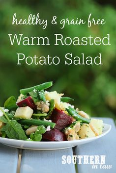 The perfect side dish or meatless main, this Healthy Warm Roasted Potato Salad Recipe is gluten free, grain free, low fat, vegetarian, meat free and a clean eating recipe. Combining potatoes with green beans, cannellini beans, feta cheese (or goat cheese), beetroot, spinach or fresh greens and a balsamic dressing, this is a dish you'll make over and over again.