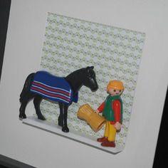 Retour de balade à cheval, cadre playmobil