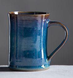 Ceramic Mug Winter Blue Glaze Cup Handmade by MaiaArtsAndCrafts