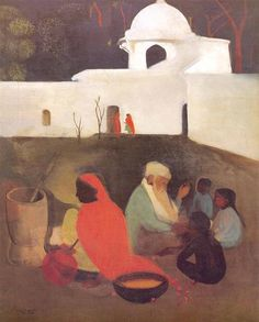 Ancient Storyteller, 1940 by Amrita Sher-Gil. Post-Impressionism. genre painting