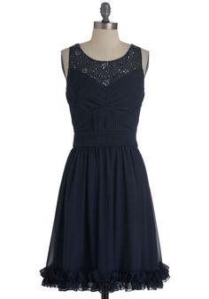 Jewel Look Fabulous Dress - Mid-length, Blue, Solid, Beads, Pleats, Trim, Formal, Party, A-line, Sleeveless, Ruffles